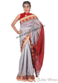 Silver and Red Pahar Design Saree