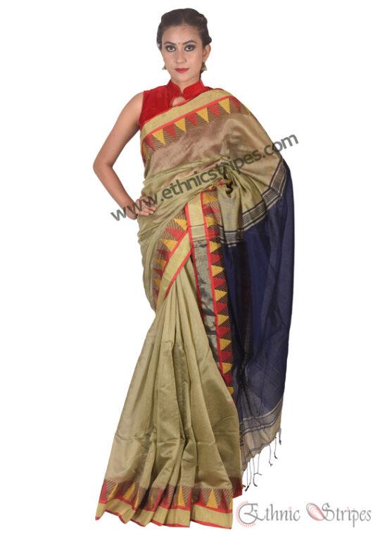 Copper and Blue Pahar Design Saree