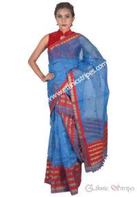 Bright Blue Brocade Nuni Mekhela Chadar