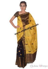 Black and Yellow Gero Design Mekhela Chadar