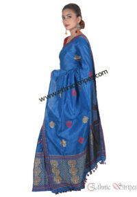 Sky Blue Floral Threads Mekhela Chadar