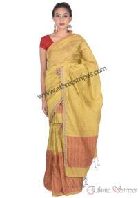 Mellow Yellow Maku Design Mekhela Chadar