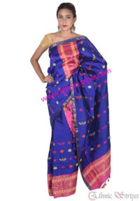 Pink and Blue Karbi Design Mekhela Chadar