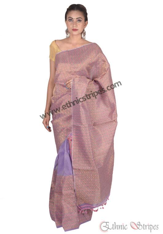 Lavender Colour Golden Guna Mekhela Chadar