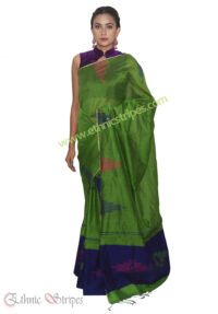Green and Blue Jamdani Mekhela Chadar