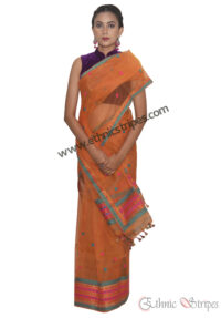 Orange Multicolour Brocade Mekhela Chadar