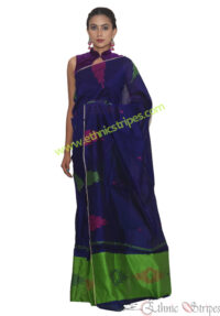 Navy Blue and Green Jamdani Mekhela Chadar