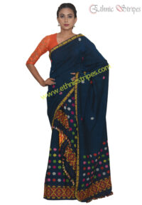 Deep Blue Pure Mishing Mekhela Chadar