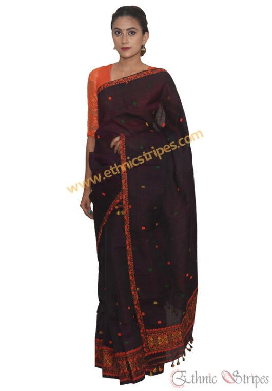 Purple and Black Nuni Cotton Mekhela Chadar