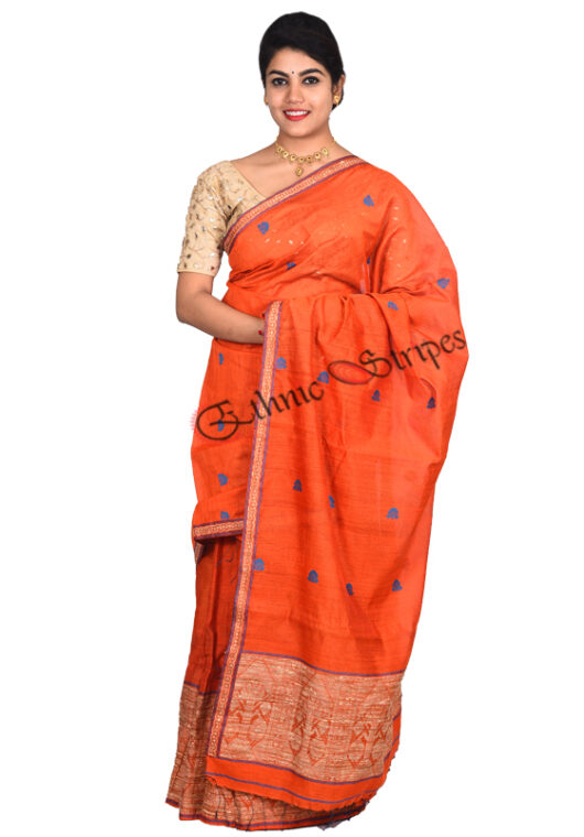 Orange Mekhela Chador