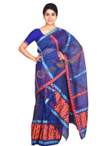 Dark Blue Staple Cotton Mekhela Chador